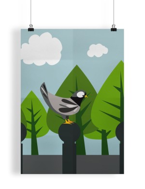 Poster_Mockup illustration pigeon